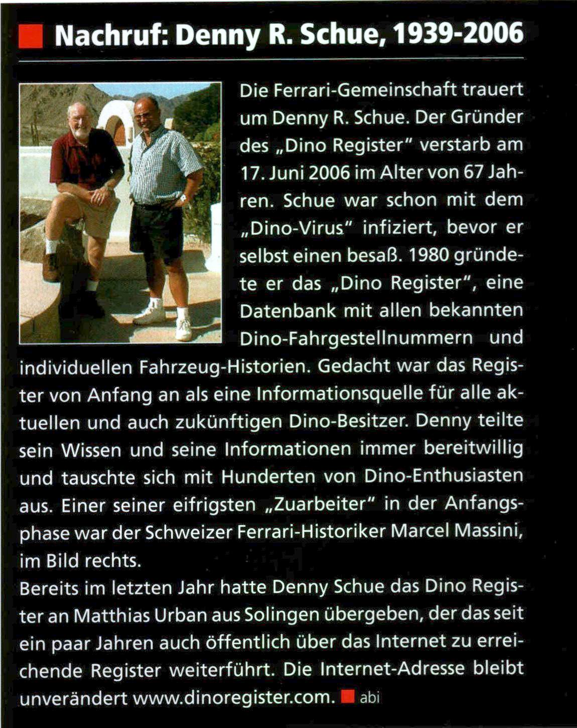 Article Ferrari World about Denny Shue